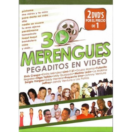 30 MERENGUES PEGADITOS EN VIDEO 2DVD 30 Merengues